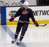 Riley Tufte of Team USA skates at the blue line before a game against Team Canada at the 2017 World Junior Summer Showcase.