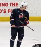 Kailer Yamamoto of Team USA skates during a stop in play in a game against Team Canada at the 2017 World Junior Summer Showcase.