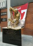 The statue of Ted Lindsay at Little Caesars Arena.