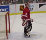 Curtis Joseph stands in the crease during pregame warmups.