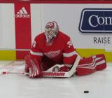 Jimmy Howard of the Detroit Red Wings stretches near the boards during pre-game warmups before a preseason game against the Boston Bruins.