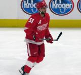 Frans Nielsen of the Detroit Red Wings skates during pre-game warmups before a preseason game against the Boston Bruins.