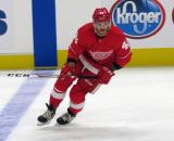 Martin Frk of the Detroit Red Wings skates at the blue line during pre-game warmups before a preseason game against the Boston Bruins.