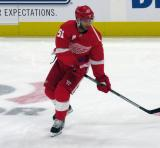 Frans Nielsen of the Detroit Red Wings skates in the neutral zone during pre-game warmups before a preseason game against the Boston Bruins.