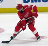 Luke Witkowski of the Detroit Red Wings skates in the neutral zone during pre-game warmups before a preseason game against the Boston Bruins.