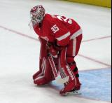 Jimmy Howard of the Detroit Red Wings stands at the top of his crease during pre-game warmups before a preseason game against the Boston Bruins.