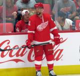 Luke Glendening of the Detroit Red Wings stands at the boards during pre-game warmups before a preseason game against the Boston Bruins.