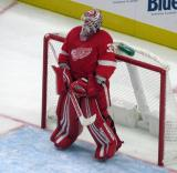 Jimmy Howard of the Detroit Red Wings stands in his crease at the start of a preseason game against the Boston Bruins.