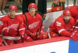 Riley Sheahan, David Booth, and Luke Witkowski of the Detroit Red Wings sit on the bench during a preseason game against the Boston Bruins.