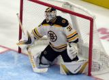 Zane McIntyre of the Boston Bruins gets set in his crease during a preseason game against the Detroit Red Wings.