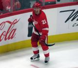 Tomas Tatar of the Detroit Red Wings skates during a stop in play in a preseason game against the Boston Bruins.