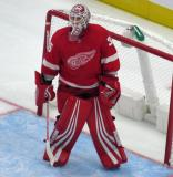 Jimmy Howard of the Detroit Red Wings stands in his crease during a stop in play in a preseason game against the Boston Bruins.