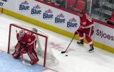 Danny DeKeyser of the Detroit Red Wings sets up a play behind goalie Jimmy Howard during a preseason game against the Boston Bruins.