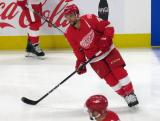 Luke Glendening of the Detroit Red Wings skates during pre-game warmups before their home opener against the Minnesota Wild.