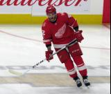 Martin Frk of the Detroit Red Wings skates in the neutral zone during pre-game warmups before their home opener against the Minnesota Wild.