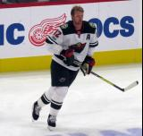 Eric Staal of the Minnesota Wild skates during pre-game warmups before their season-opening game against the Detroit Red Wings.