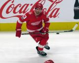 Darren Helm of the Detroit Red Wings skates during pre-game warmups before their home opener against the Minnesota Wild.