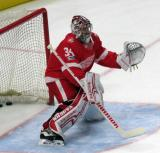 Petr Mrazek of the Detroit Red Wings gets set to make a stop during pre-game warmups before their home opener against the Minnesota Wild.