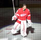 Petr Mrazek of the Detroit Red Wings skates onto the ice during player introductions at the start of the team's home opener against the Minnesota Wild.