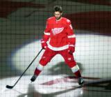 Frans Nielsen of the Detroit Red Wings skates onto the ice during player introductions at the start of the team's home opener against the Minnesota Wild.