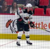 Eric Staal of the Minnesota Wild skates along the boards during a game against the Detroit Red Wings.