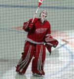 Jimmy Howard of the Detroit Red Wings takes a short lap on the ice as second star of a win over the Minnesota Wild.