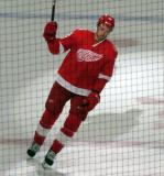 Anthony Mantha of the Detroit Red Wings takes a short lap on the ice as first star of a win over the Minnesota Wild.