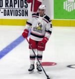 Dominic Turgeon of the Grand Rapids Griffins skates during pre-game warmups before his team's season-opening game against the Manitoba Moose.