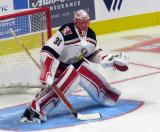 Jared Coreau of the Grand Rapids Griffins gets set to face a shot during pre-game warmups before his team's season-opening game against the Manitoba Moose.