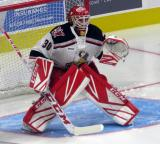 Tom McCollum of the Grand Rapids Griffins squares to a shooter during pre-game warmups before his team's season-opening game against the Manitoba Moose.