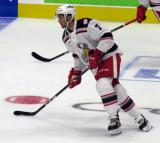 Ryan Sproul of the Grand Rapids Griffins skates in the neutral zone during pre-game warmups before his team's season-opening game against the Manitoba Moose.