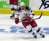 Corey Elkins of the Grand Rapids Griffins skates during pre-game warmups before his team's season-opening game against the Manitoba Moose.