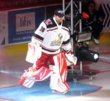 Tom McCollum of the Grand Rapids Griffins skates to the blue line during player introductions at the start of his team's home opener against the Manitoba Moose.