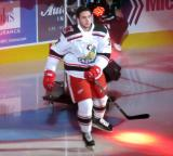 Zach Nastasiuk of the Grand Rapids Griffins skates to the blue line during player introductions at the start of his team's home opener against the Manitoba Moose.