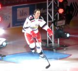 Tyler Bertuzzi of the Grand Rapids Griffins skates to the blue line during player introductions at the start of his team's home opener against the Manitoba Moose.