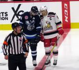 Julian Melchiori of the Manitoba Moose and Matt Ford of the Grand Rapids Griffins talk before a faceoff during the Griffins' home opener.