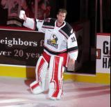Jared Coreau of the Grand Rapids Griffins takes a short lap on the ice as the third star of a win over the Manitoba Moose.