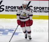 Eric Tangradi of the Grand Rapids Griffins skates during pre-game warmups before a game against the San Antonio Rampage.