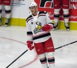 Turner Elson of the Grand Rapids Griffins skates during pre-game warmups before a game against the San Antonio Rampage.