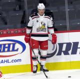 Evgeny Svechnikov of the Grand Rapids Griffins stands in the corner during pre-game warmups before a game against the San Antonio Rampage.