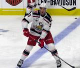 Dominic Turgeon of the Grand Rapids Griffins skates at the blue line during pre-game warmups before a game against the San Antonio Rampage.
