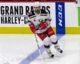 Axel Holmstrom of the Grand Rapids Griffins skates at the blue line during pre-game warmups before a game against the San Antonio Rampage.