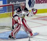 Jared Coreau of the Grand Rapids Griffins gets set at the top of his crease during pre-game warmups before a game against the San Antonio Rampage.