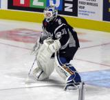 Ville Husso of the San Antonio Rampage comes out to the top of his crease during pre-game warmups before a game against the Grand Rapids Griffins.