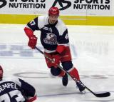 Corey Elkins of the Grand Rapids Griffins skates during pre-game warmups before the team's annual Purple Game.