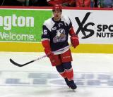 Colin Campbell of the Grand Rapids Griffins skates during pre-game warmups before the team's annual Purple Game.