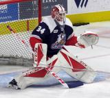 Matej Machovsky of the Grand Rapids Griffins comes out to the top of his crease during pre-game warmups before the team's annual Purple Game.