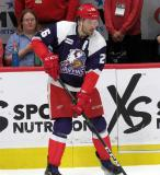 Eric Tangradi of the Grand Rapids Griffins skates near the bench during pre-game warmups before the team's annual Purple Game.