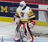 Etienne Marcoux of the Wilkes-Barre/Scranton Penguins stands in the crease during pre-game warmups before a game against the Grand Rapids Griffins.