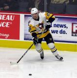 Christian Thomas of the Wilkes-Barre/Scranton Penguins takes a pass during a game against the Grand Rapids Griffins.